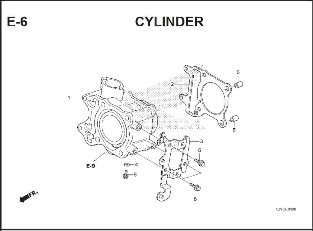 E-6 Cylinder – Katalog Honda PCX 150 KZY