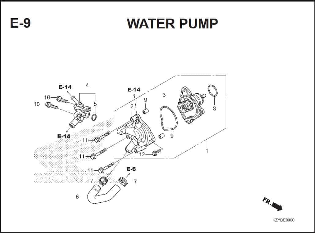 E-9 Water Pump – Katalog Honda PCX 150 KZY