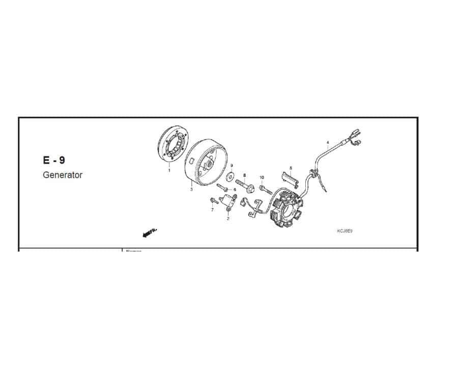 E-9 genetaror – Katalog Suku Cadang Honda Tiger Revo KCJ