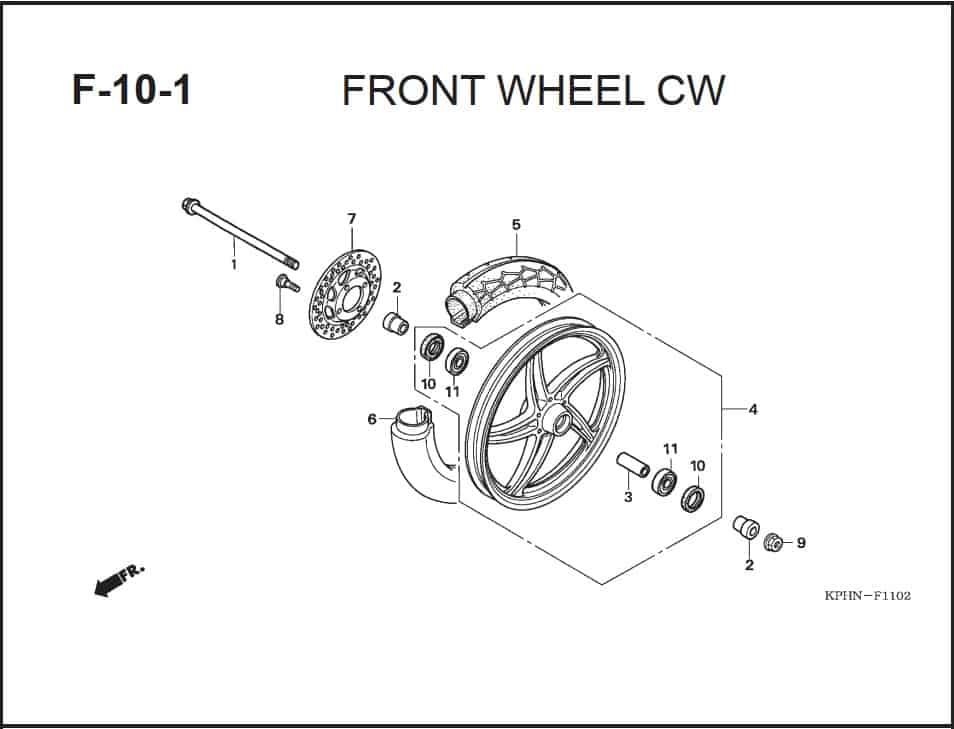 F-10-1 Front Wheel CW – Katalog Suku Cadang Honda Supra X 125 PGM-FI
