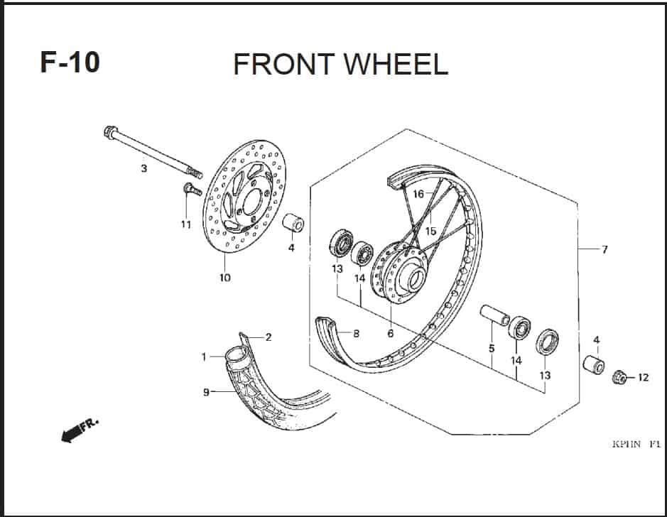 F-10 Front Wheel – Katalog Suku Cadang Honda Supra X 125 PGM-FI