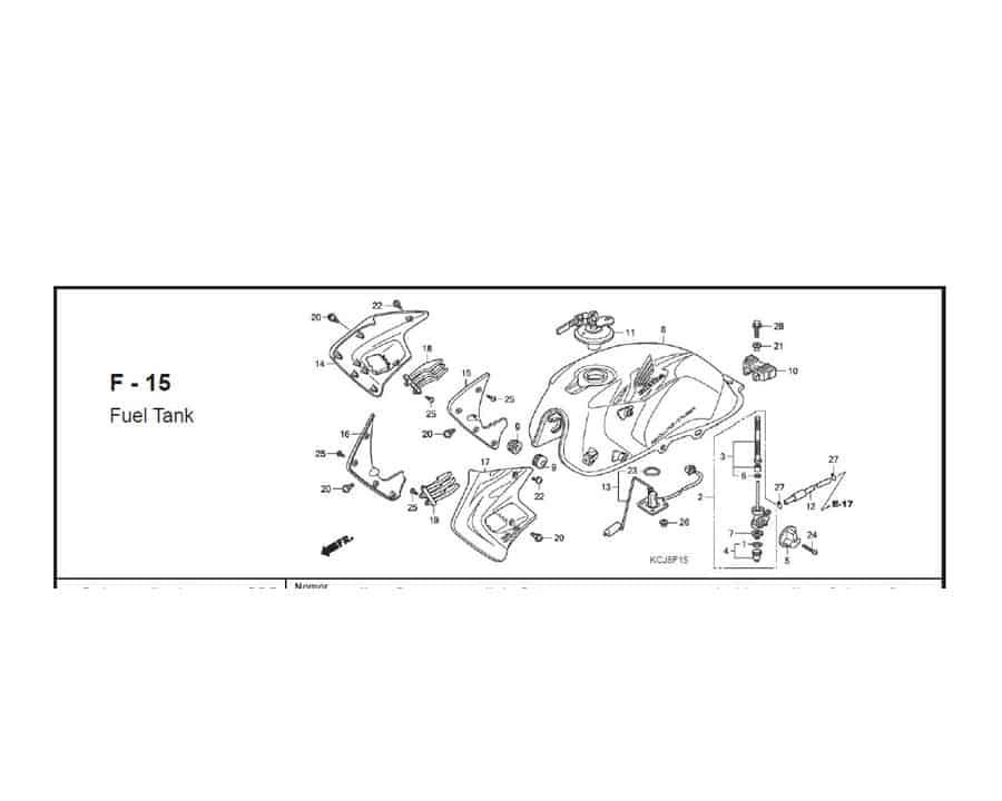 F – 15 Fuel Tank – Katalog Suku Cadang Honda Tiger Revo KCJ