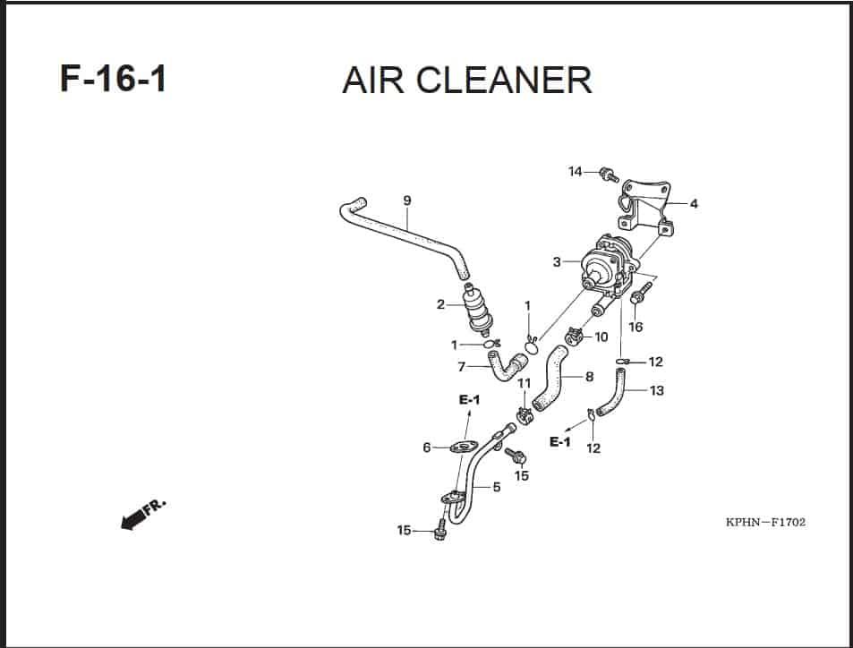 F-16-1 Air Cleaner – Katalog Suku Cadang Honda Supra X 125 PGM-FI