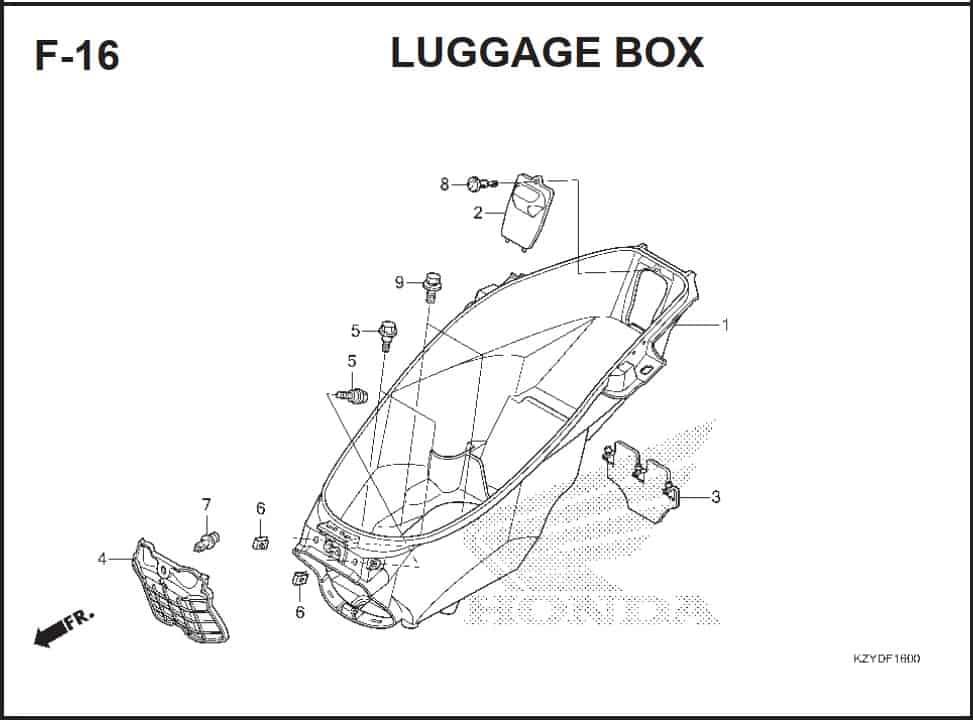 F-16 Luagge Box – Katalog Honda PCX 150 KZY