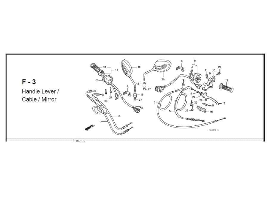 F – 3 Handle Lever / Cable / Mirror – Katalog Suku Cadang Honda Tiger Revo KCJ