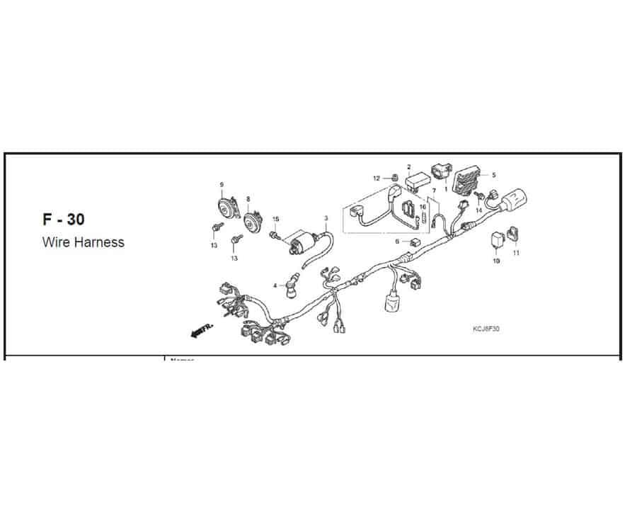 F – 30 Wire Harness – Katalog Suku Cadang Honda Tiger Revo KCJ