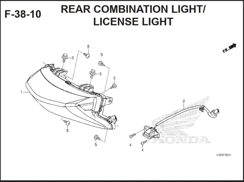 F-38-10 Rear Combination Light License Light