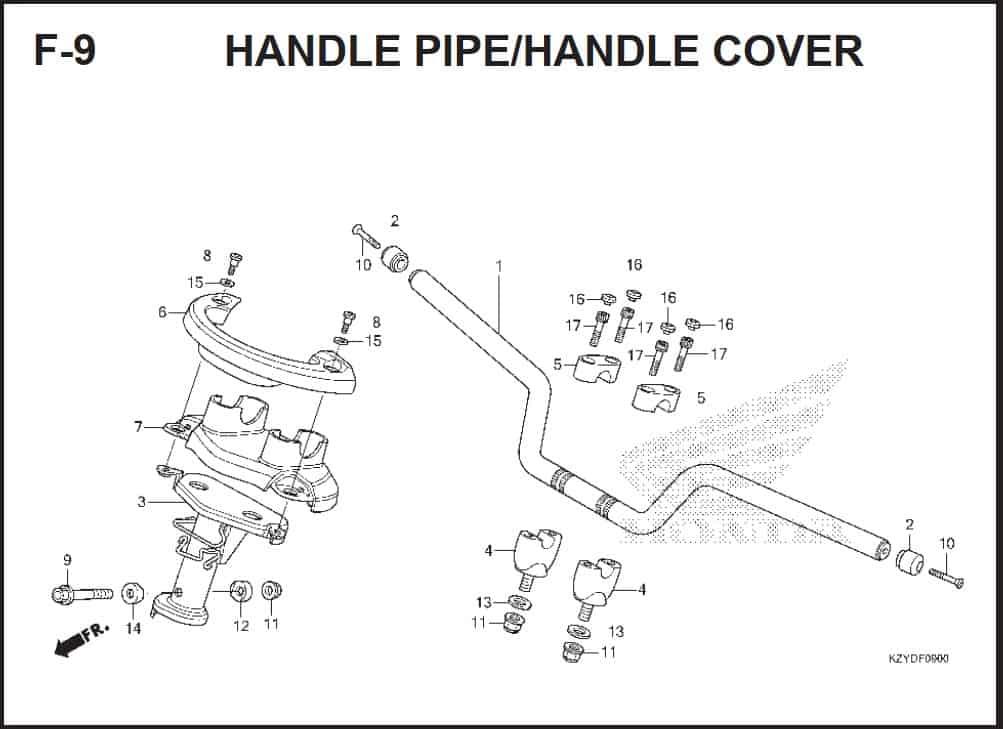 F-9 Handle Pipe/Handle Cover – Katalog Honda PCX 150 KZY