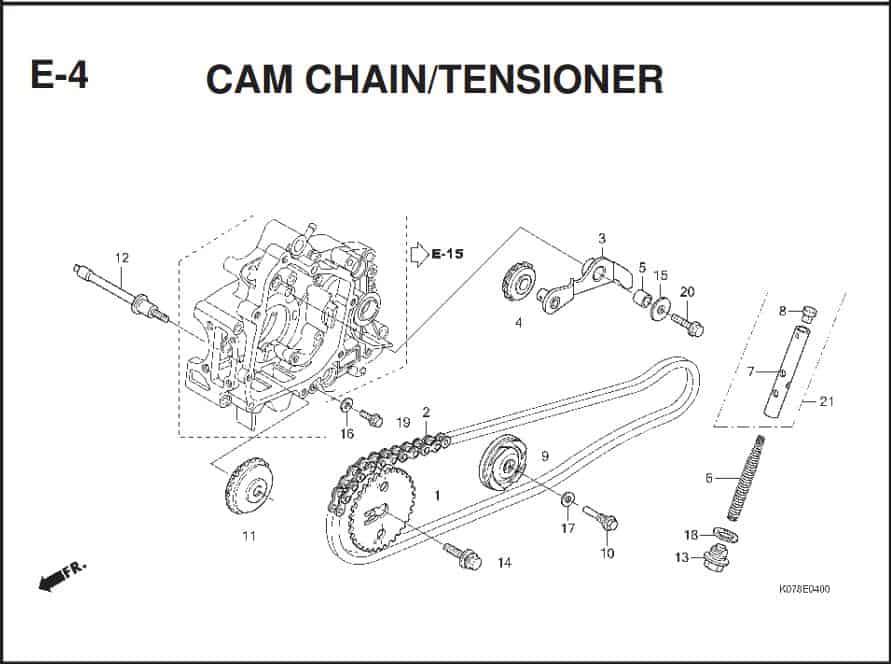 E-4 Cam Chain/Tensioner – Katalog Suku Cadang Honda Blade 110
