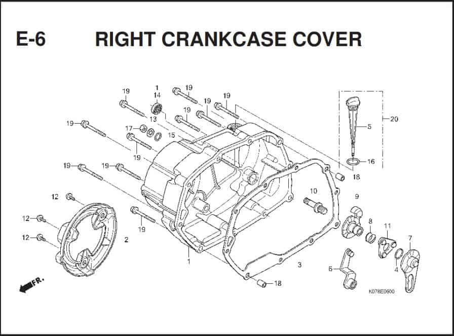 e-6 Right Crancase Cover