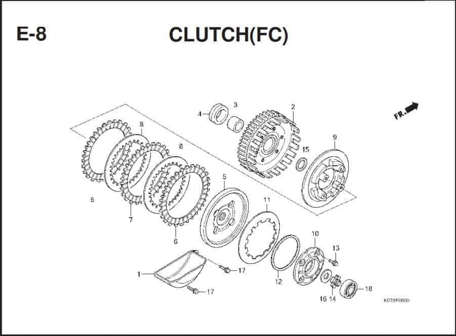 E-8 Clutch(FC) – Katalog Suku Cadang Honda Blade 110