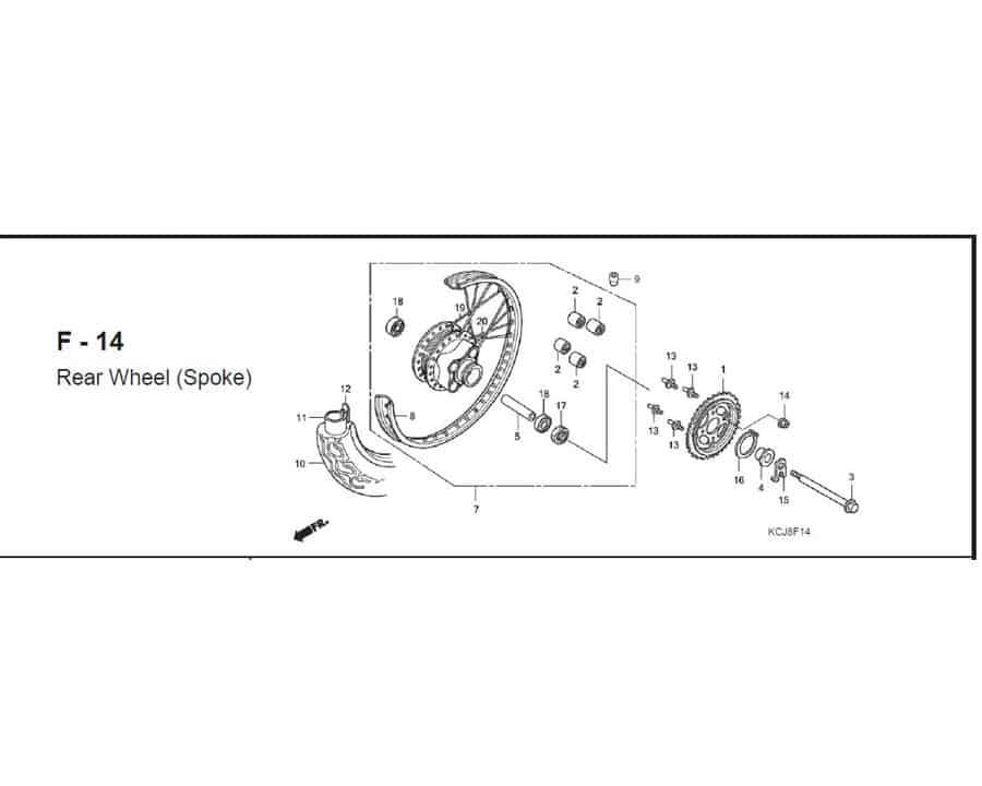 f-14 rear wheel spoke