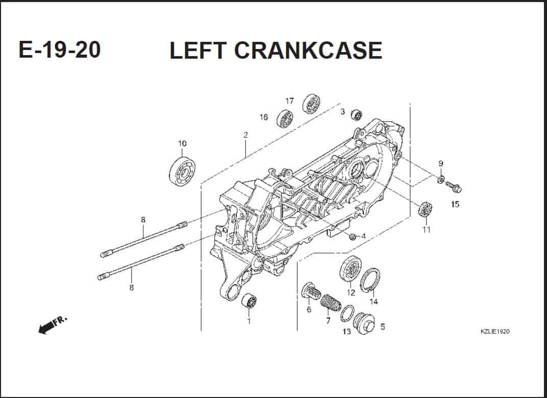 E-19-20 Left Crankcase – Katalog Suku Cadang Honda Spacy