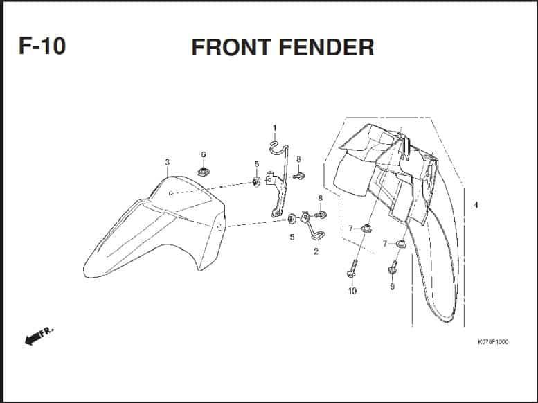F-10 Front Fender – Katalog Suku Cadang Honda Blade 110