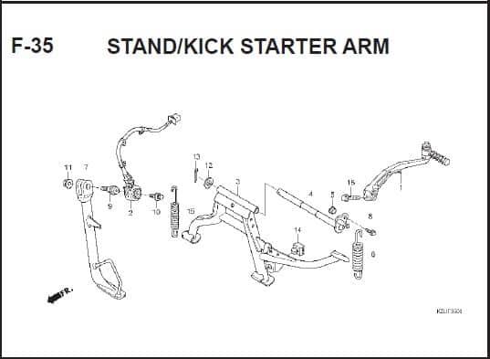 F-35 STAND/KICK STARTER ARM