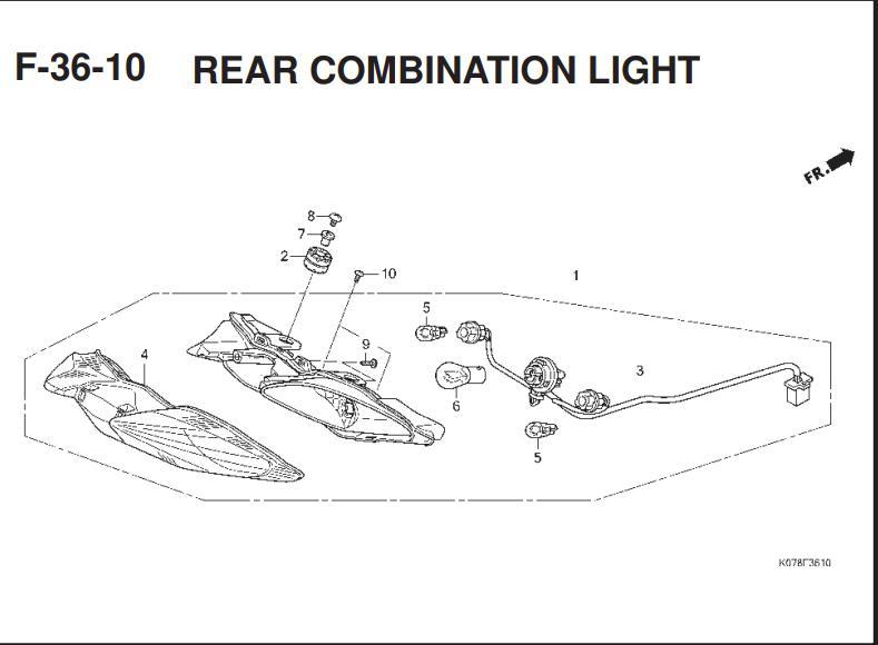 F-36-10 Rear Combination Light – Katalog Suku Cadang Honda Blade 110