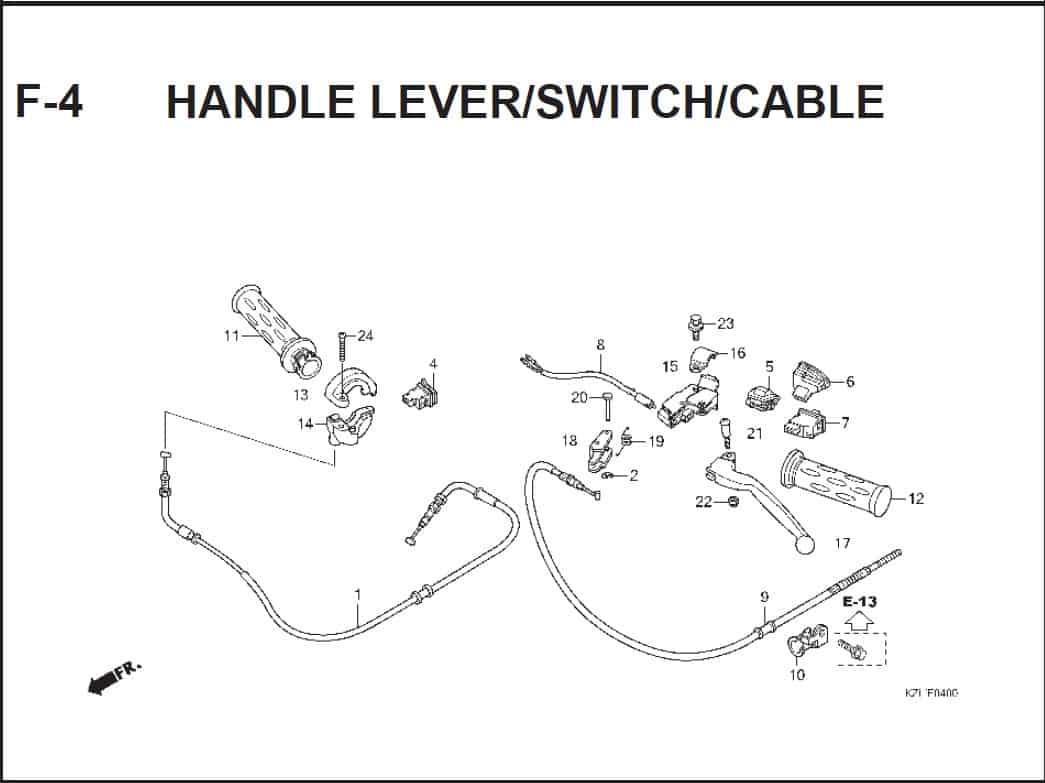 F-4 Handle Lever/Switch/Cable – Katalog Suku Cadang Honda Spacy