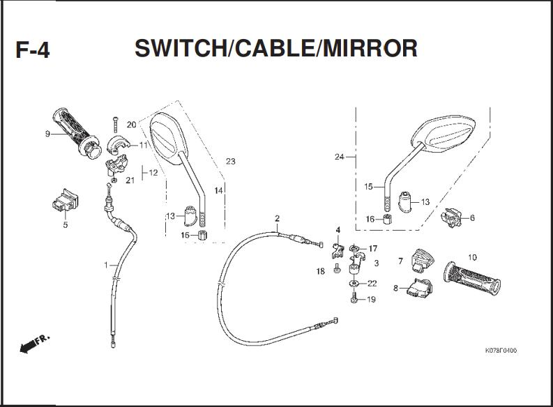 F-4 SWITCH CABLE MIRROR