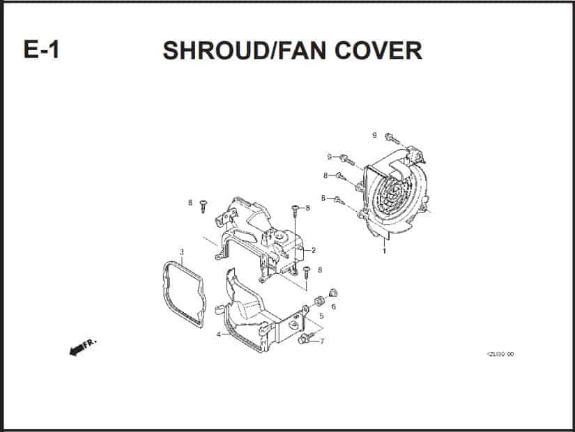 E-1 Shroud/Fan Cover – Katalog Suku Cadang Honda Spacy