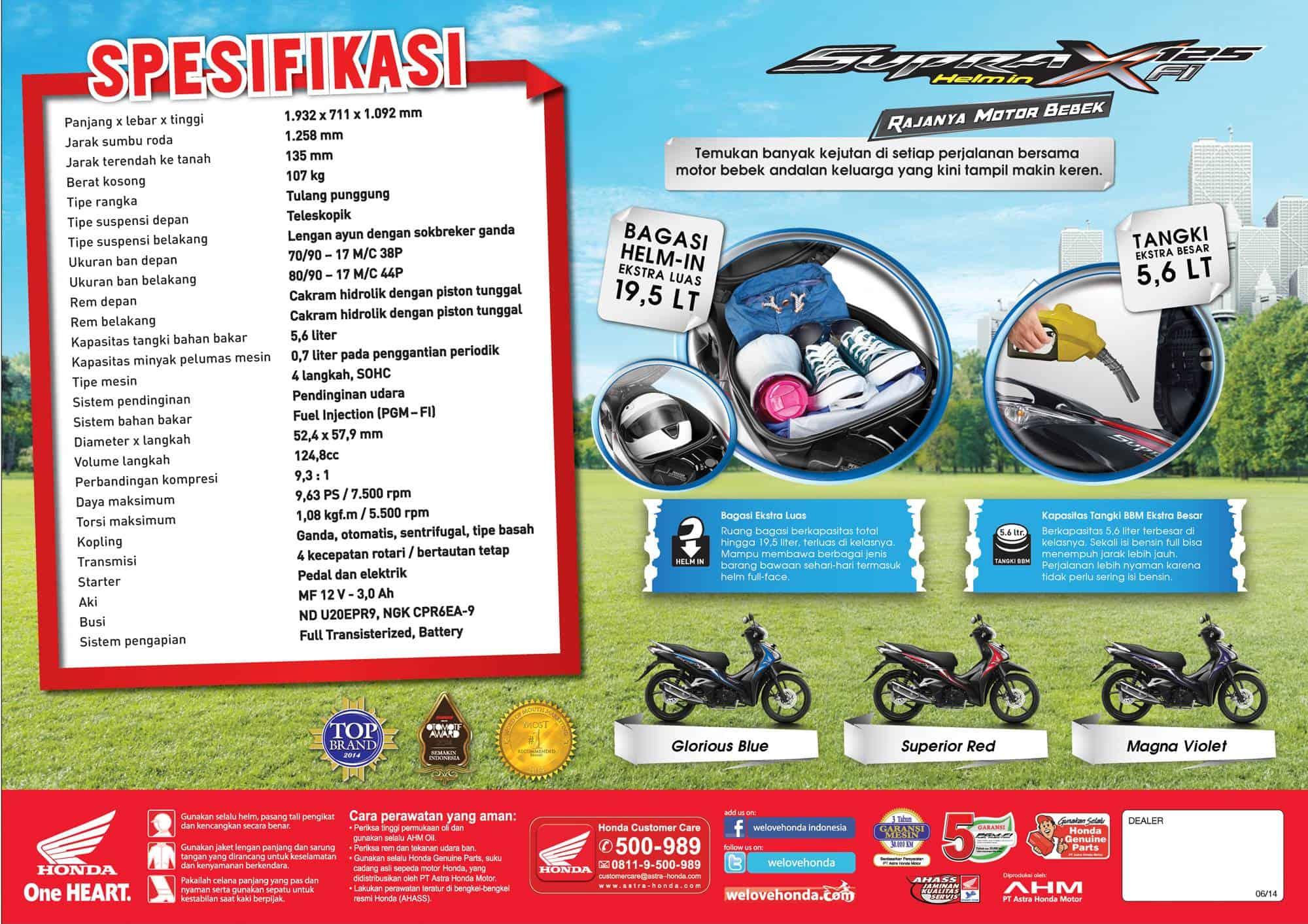 Brosur Motor Honda Supra X 125 Helm-In PGM-FI - 2