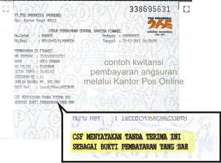Contoh Kwitansi Pembayaran Angsuran CSF Melalui Kantor Pos Online