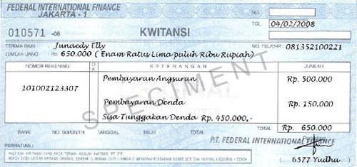 Contoh Kwitansi Pembayaran Di Kantor FIF