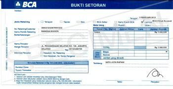 Contoh Slip Setoran BCA