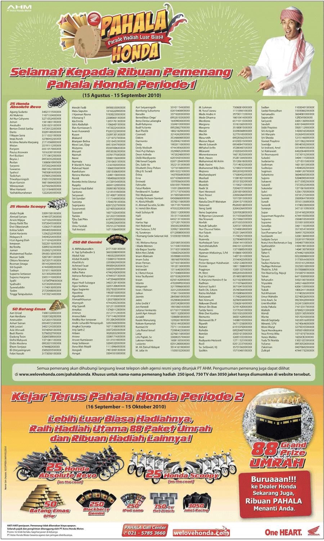 Daftar Pemenang Pahala Honda Periode 1