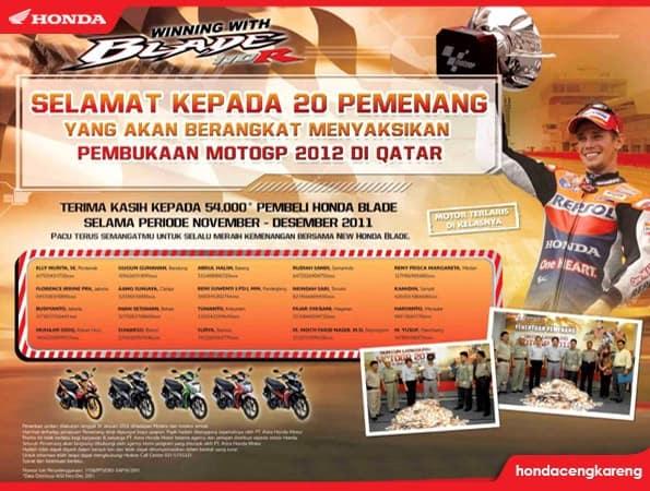 Selamat Kepada 20 Pemenang Nonton Langsung MotoGP 2012